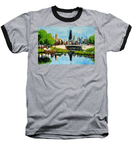 Downtown Chicago From Lincoln Park Baseball T-Shirt