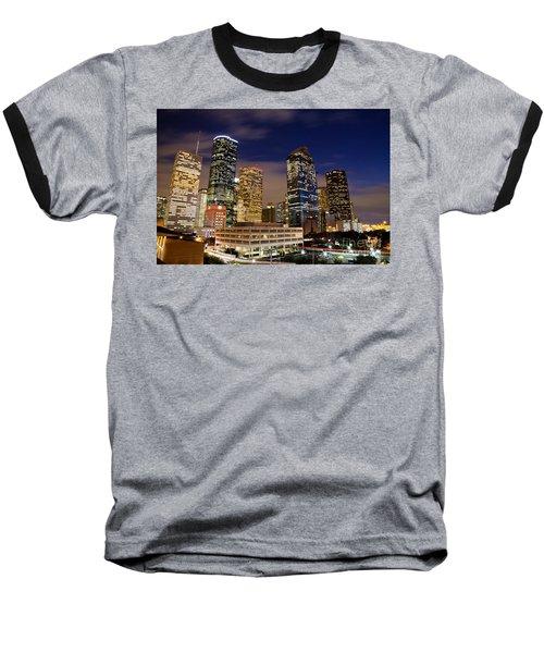 Downtown Houston At Night Baseball T-Shirt