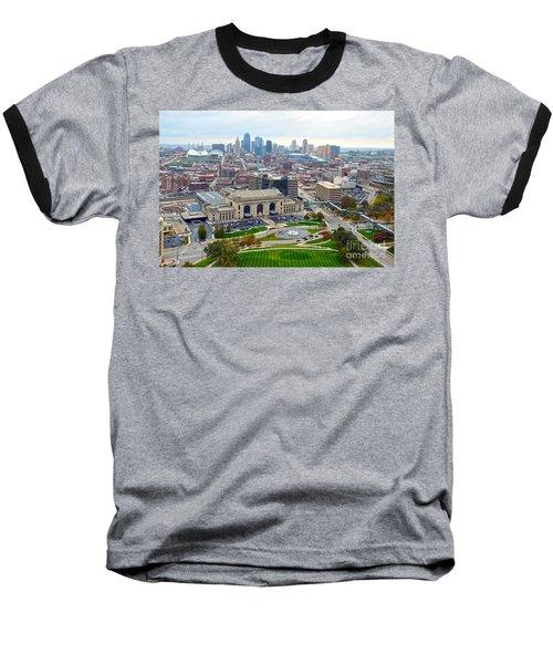 Downtown Kansas City From Liberty Memorial Tower Baseball T-Shirt