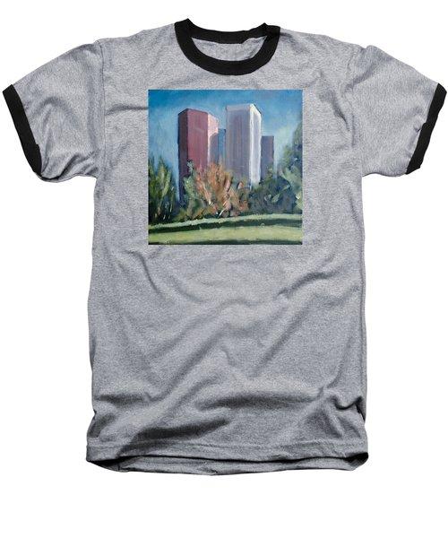 Downtown Los Angeles Baseball T-Shirt by Richard Willson