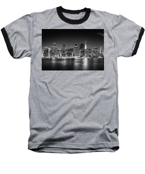 Downtown Manhattan Bw Baseball T-Shirt by Az Jackson
