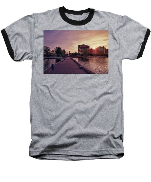 Downtown Neenah Sunset Baseball T-Shirt by Joel Witmeyer