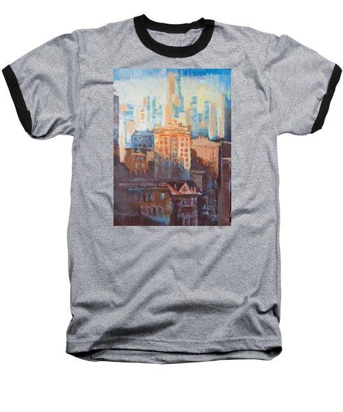 Downtown Old And New Baseball T-Shirt by John Fish