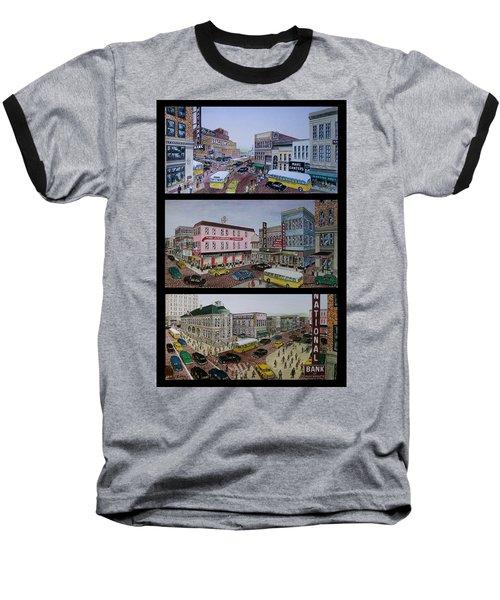 Downtown Portsmouth 1948 Baseball T-Shirt by Frank Hunter