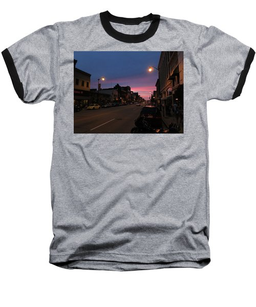 Baseball T-Shirt featuring the photograph Downtown Racine At Dusk by Mark Czerniec