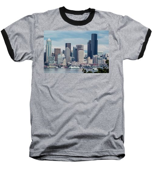 Downtown Seattle And Ferries Baseball T-Shirt