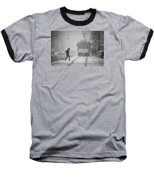 Downtown Snow Storm Baseball T-Shirt