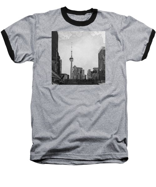 Downtown Toronto In Bw Baseball T-Shirt