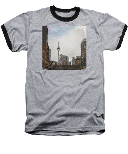 Downtown Toronto In Color Baseball T-Shirt