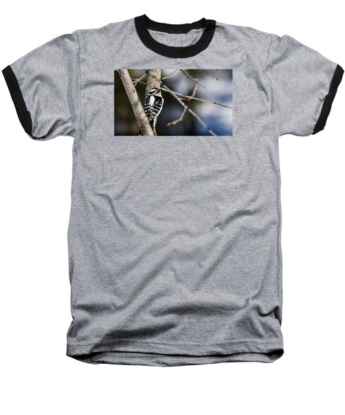 Baseball T-Shirt featuring the photograph Downy Woodpecker by Dan Traun