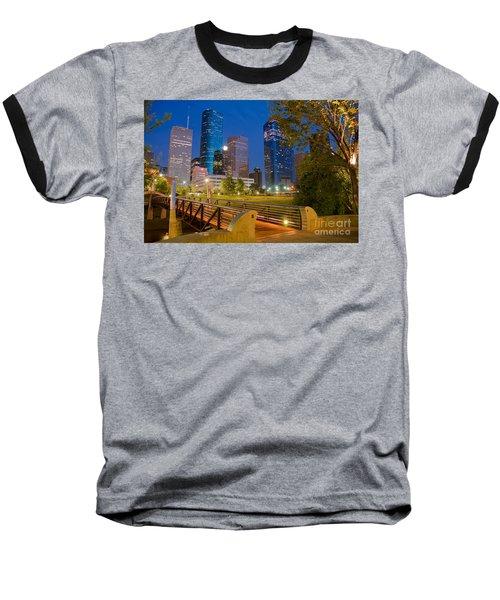 Dowtown Houston By Night Baseball T-Shirt