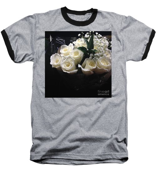 Baseball T-Shirt featuring the photograph Dozen White Bridal Roses by Richard W Linford