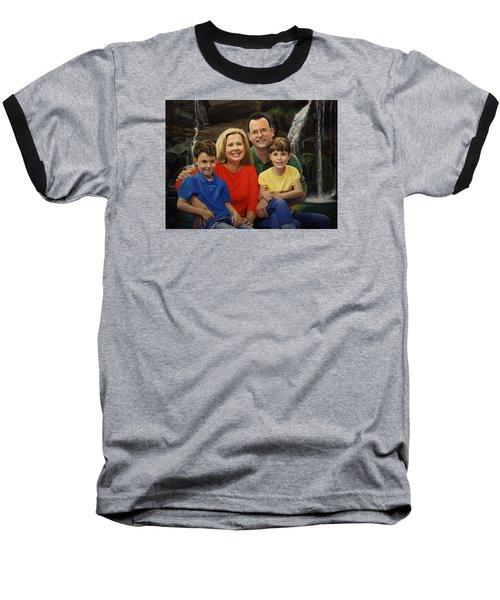 Baseball T-Shirt featuring the painting Dr. Devon Ballard And Family by Glenn Beasley