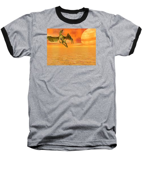 Dragon Against The Orange Sky Baseball T-Shirt