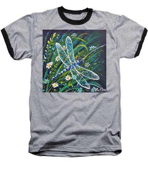 Dragonfly And Daisies Baseball T-Shirt by Gail Butler