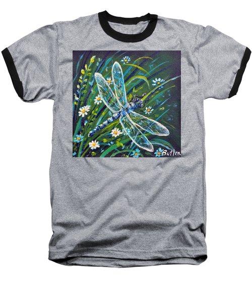 Dragonfly And Daisies Baseball T-Shirt