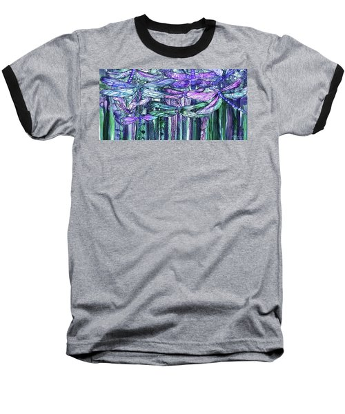 Baseball T-Shirt featuring the mixed media Dragonfly Bloomies 4 - Lavender Teal by Carol Cavalaris