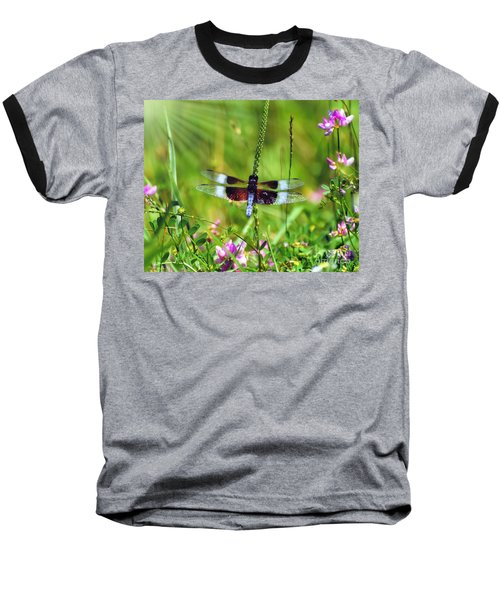 Dragonfly Delight Baseball T-Shirt by Kerri Farley