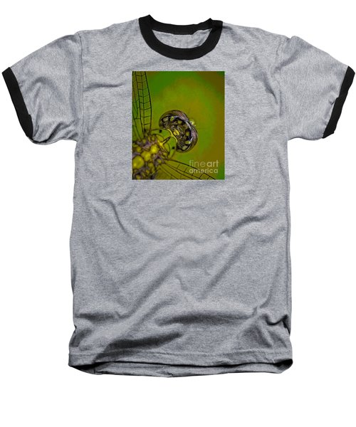 Baseball T-Shirt featuring the mixed media Dragonfly Detail by Kim Henderson