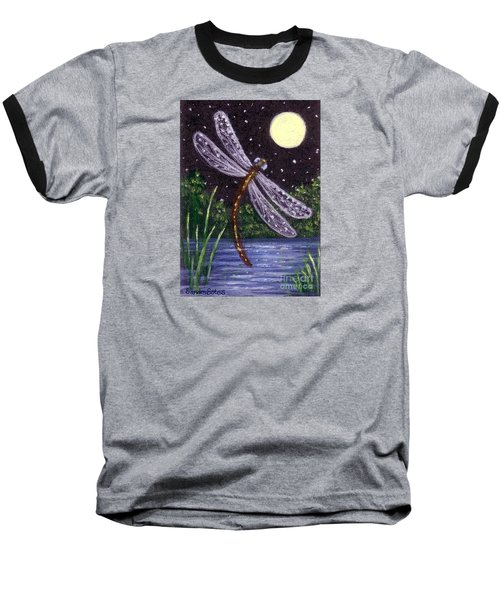 Baseball T-Shirt featuring the painting Dragonfly Dreaming by Sandra Estes
