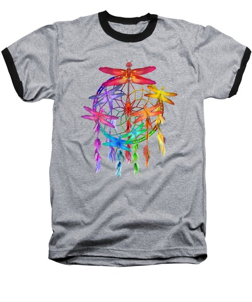 Baseball T-Shirt featuring the mixed media Dragonfly Dreams by Carol Cavalaris