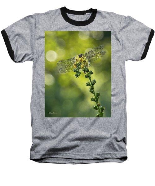 Dragonfly Flower Baseball T-Shirt