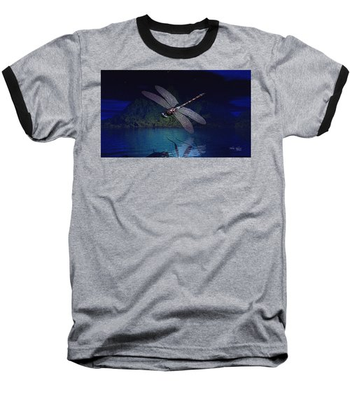 Dragonfly Night Reflections Baseball T-Shirt