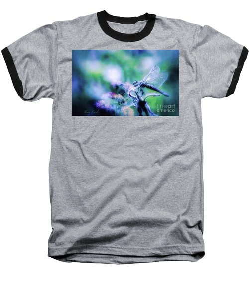 Dragonfly On Lantana-blue Baseball T-Shirt