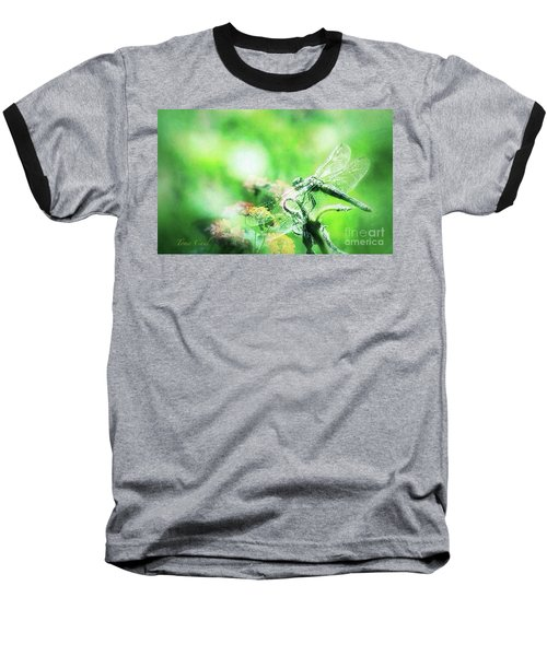 Dragonfly On Lantana-green Baseball T-Shirt