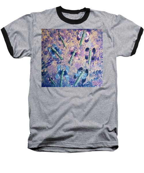 Baseball T-Shirt featuring the painting Dragons In Indigo And Lavender by Megan Walsh