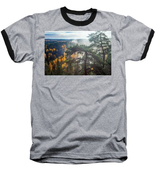 Dramatic Autumn Forest With Trees On Foreground Baseball T-Shirt