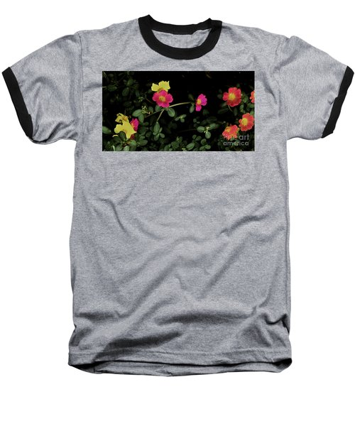 Dramatic Colorful Flowers Baseball T-Shirt