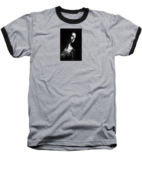 Baseball T-Shirt featuring the photograph Dramatic Lucy In Black And White by Nareeta Martin