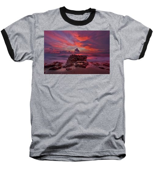 Dramatic Sunrise Over Coral Cove Beach In Jupiter Florida Baseball T-Shirt by Justin Kelefas