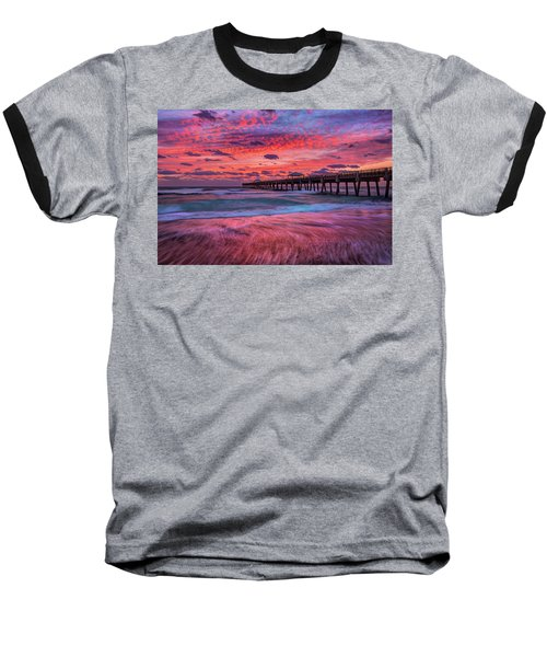 Dramatic Sunrise Over Juno Beach Pier, Florida Baseball T-Shirt