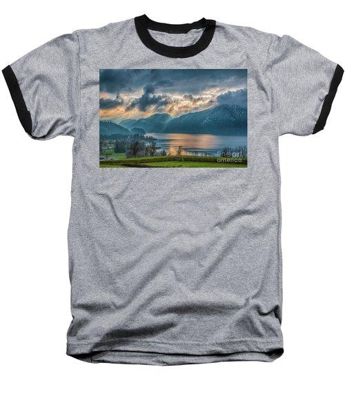 Dramatic Sunset Over Mondsee, Upper Austria Baseball T-Shirt by Jivko Nakev