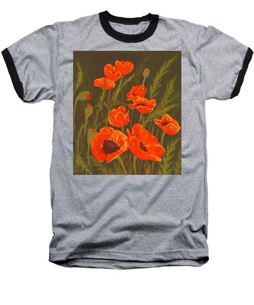 Baseball T-Shirt featuring the painting Dream Of Poppies by Anastasiya Malakhova