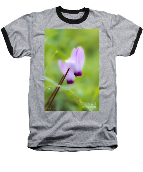 Dream On Purple Dew Drops Baseball T-Shirt by Arik Baltinester