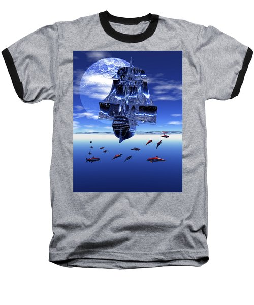 Baseball T-Shirt featuring the digital art Dream Sea Voyager by Claude McCoy