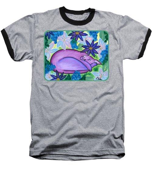 Dreaming Sleeping Purple Cat Baseball T-Shirt