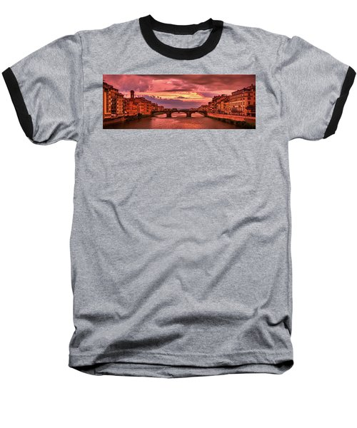 Saint Trinity Bridge From Ponte Vecchio At Red Sunset In Florence, Italy Baseball T-Shirt