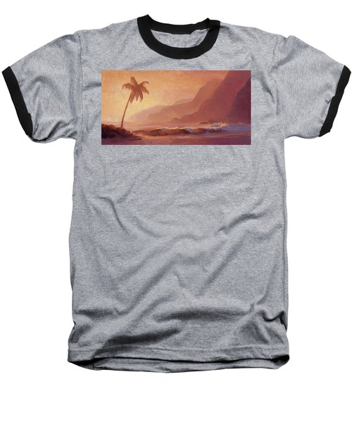 Baseball T-Shirt featuring the painting Dreams Of Hawaii - Tropical Beach Sunset Paradise Landscape Painting by Karen Whitworth