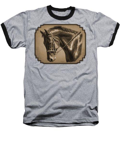 Dressage Horse Sepia Phone Case Baseball T-Shirt