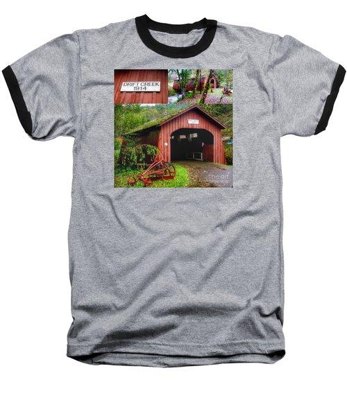Drift Creek Covered Bridge Baseball T-Shirt by Susan Garren