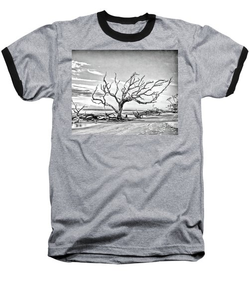 Baseball T-Shirt featuring the photograph Driftwood Beach - Black And White by Kerri Farley