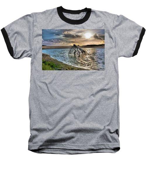 Driftwood In A Tide Pool Outer Banks Ap Baseball T-Shirt by Dan Carmichael
