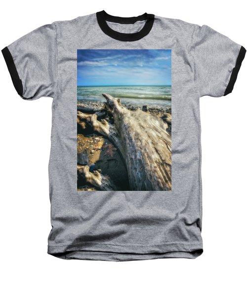 Baseball T-Shirt featuring the photograph Driftwood On Beach - Grant Park - Lake Michigan Shoreline by Jennifer Rondinelli Reilly - Fine Art Photography
