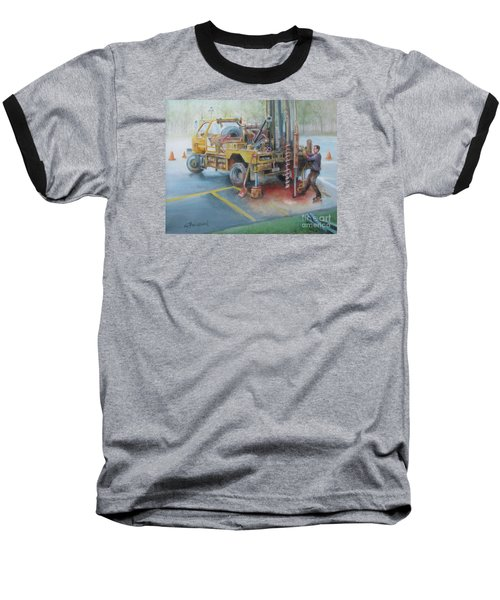 Baseball T-Shirt featuring the painting Drill,drill,drill by Oz Freedgood