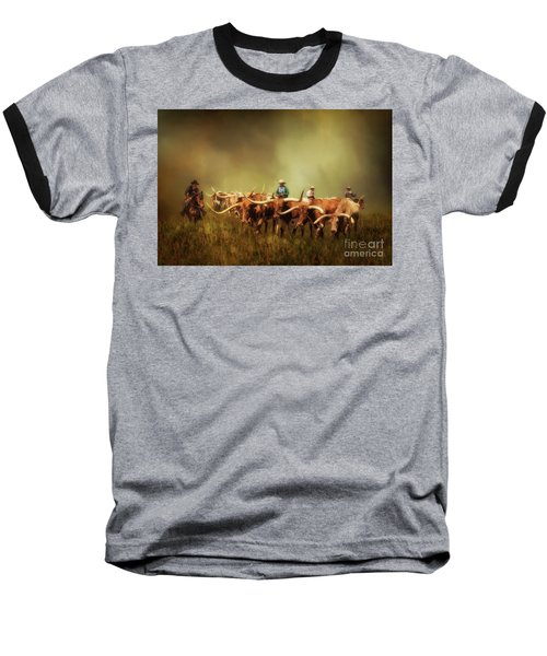 Driving The Herd Baseball T-Shirt by Priscilla Burgers