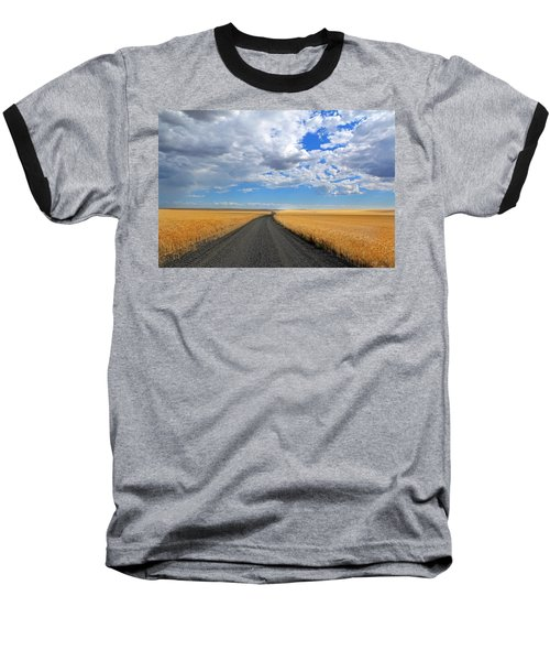 Driving Through The Wheat Fields Baseball T-Shirt by Lynn Hopwood